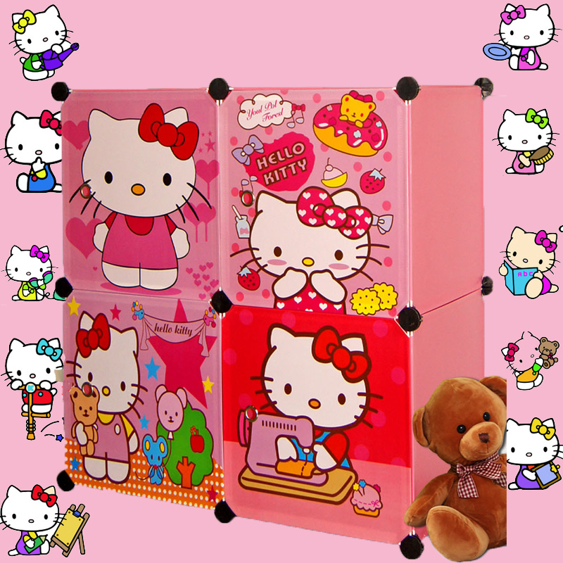 4 Cubes Children's Cartoon Wardrobe Closet Storage Cabinet Clothing Armoire Kids Closet Organizer Storage Organizers(China (Mainland))