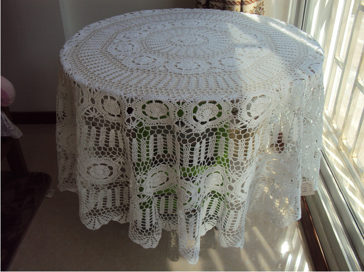 Wedding Tablecloth Vintage Hand Crochet Cotton Topper Cover Beige Rural Charm 130cm Round Table Cloth Tablecloths Manteles Para(China (Mainland))