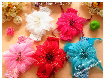 8pcs (3.5inch Feather Hair Flower + Hair Bows + Elastic 1.5inch Headband) Baby Girl's Infant's Hair Accessories