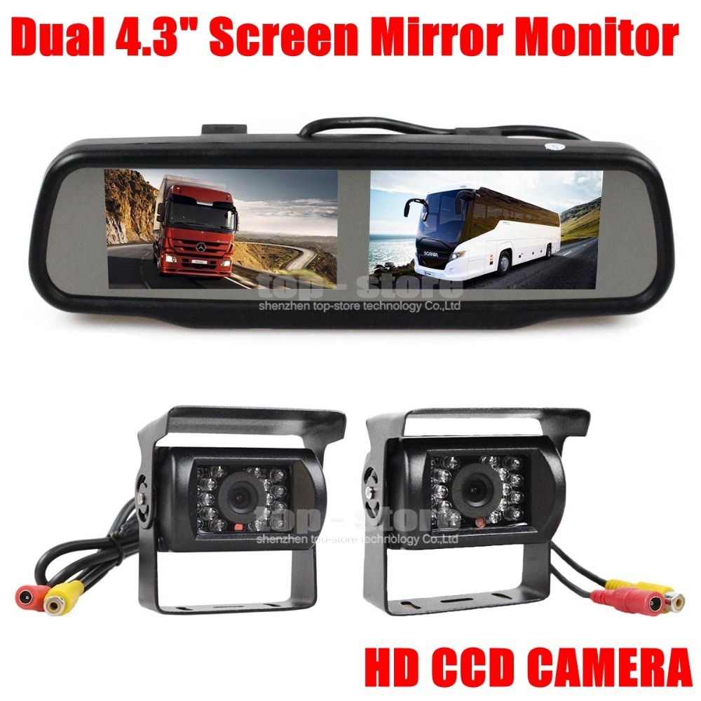 Dual 4.3 inch Screen Display Rear View Car Mirror Monitor + IR CCD Waterproof Car Rear View Reverse Backup Car Truck Bus Camera(China (Mainland))