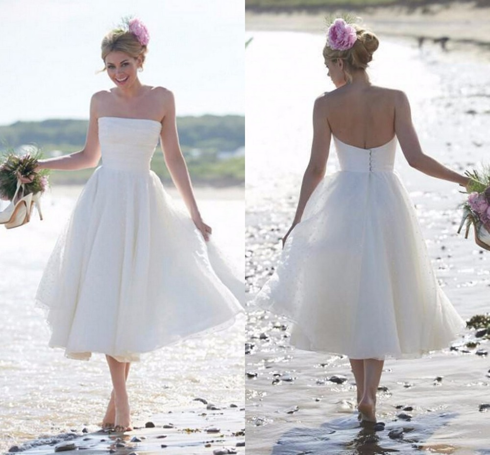 2016 summer short beach wedding dress vintage 1950 tea for Short white summer wedding dresses