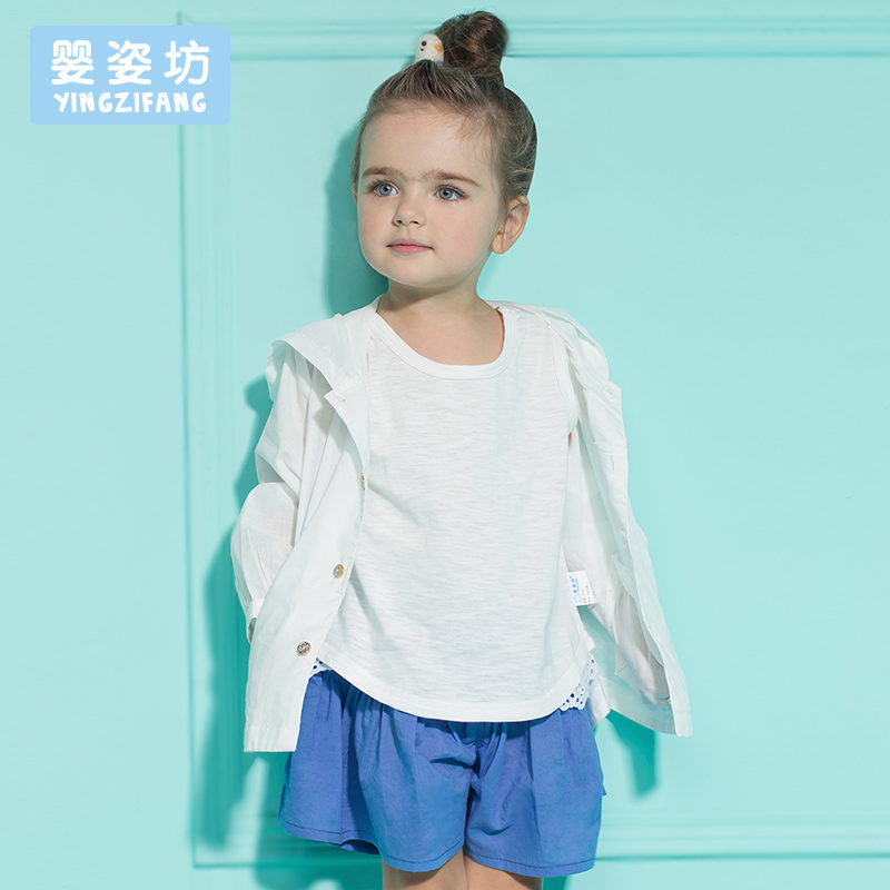 2016 New Summer Casual Sporty Girls Clothing Set 3 pieces T-shirts + Short Pantskirts Culotte + Sun Coat(China (Mainland))