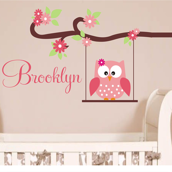 Cute Owl Monogram Custom Name Childrens Nursery Wall Decals Vinyl Lettering Wall Art - Great for a Baby Nursery or Girls Bedroom(China (Mainland))
