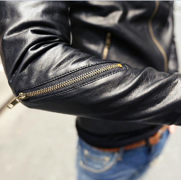 2015 new Autumn men slim Casual shirt leather brand men jacket leather coat Men Leather Suede