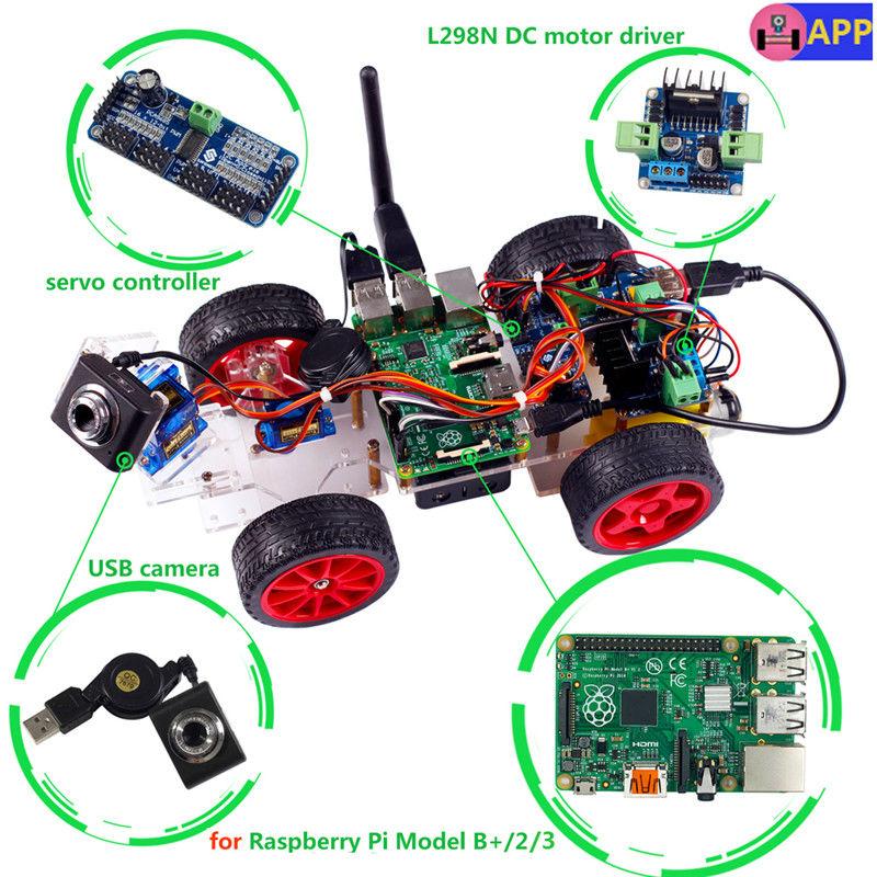 ถูก ราสเบอร์รี่Piหุ่นยนต์โครงการวิดีโอสมาร์ทหุ่นยนต์รถสำหรับราสเบอร์รี่Pi 3 2โมดูลB +ที่มีAndroid App