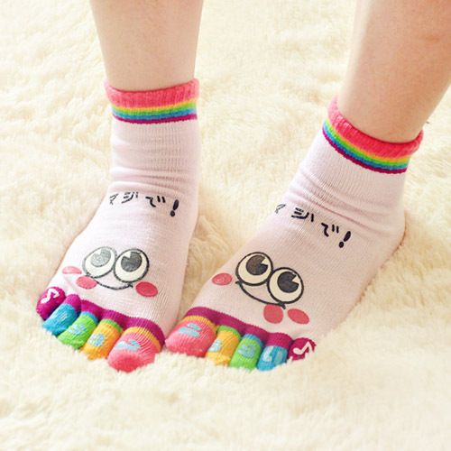 New Arrival Hot 1PCS Fashion Lady Womens Girls Smile Five Fingers Trainer Toe Ankle Sport Socks Free shipping &wholesale(China (Mainland))