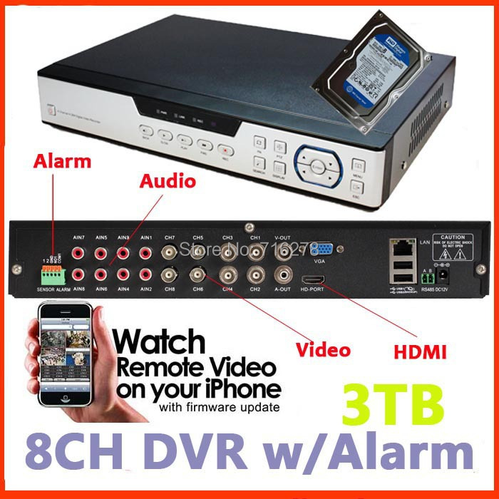 8CH H.264 HDMI network Cloud service plug & play (P2P) cctv dvr Stand Alone recorder Android Mobilephone View online +3TB HDD(China (Mainland))