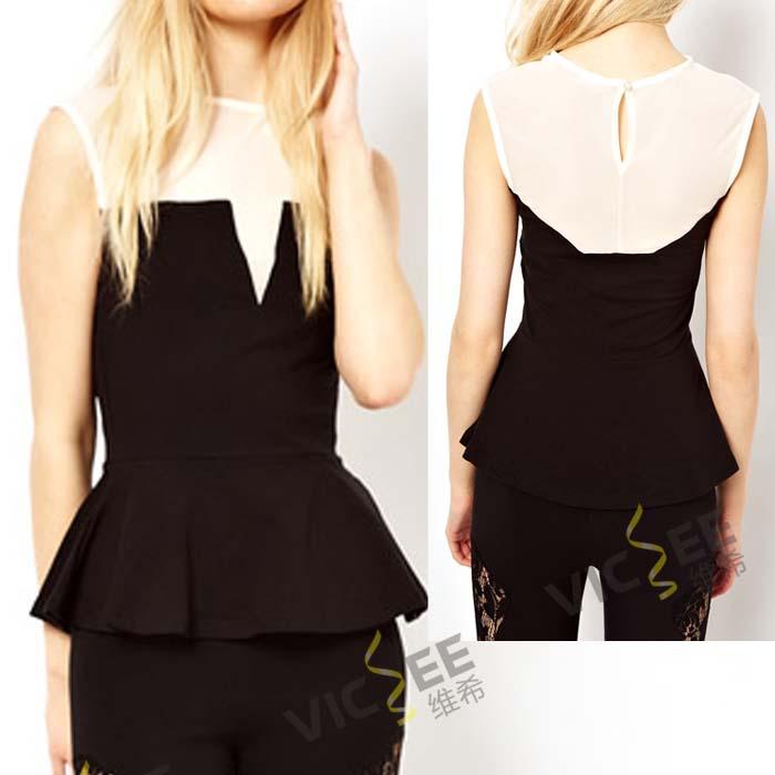 Black white chiffon knit stitching sleeveless Victorian style wasp waist hem summer shirt top tees blouse - VICSEE International Apparel Ltd store