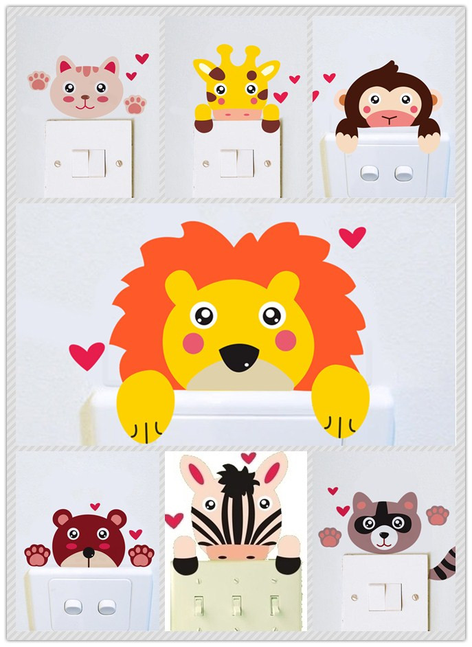 1601% Cartoon cute cat Giraffe monkey waterproof home decor wall stickers living room bedroom Switch Sticker kids christmas gift(China (Mainland))