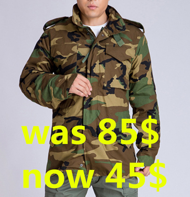 Men's winter M65 jacket with liner,military tactical woodland multicam camouflage winter parka. 2 in 1 coat+free shipping(China (Mainland))