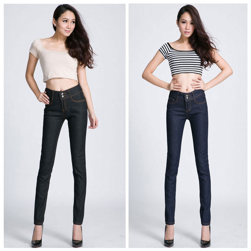Double-breasted women high-waist simplify show thin versatile dark blue black skinny jeans - Arsenal Crazy store