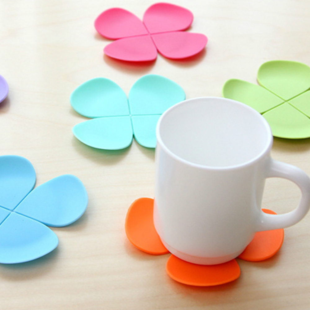 5pcs Set Mixed Colors 3d Flower Petal Shape Cup Coasters