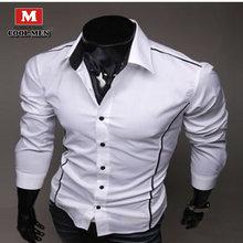 Men Shirt in Autumn 2015 Fashion Brand Cotton Slim Men Shirt Long Sleeve High Quality Casual Black/White/Gray Men Shirt For Men(China (Mainland))