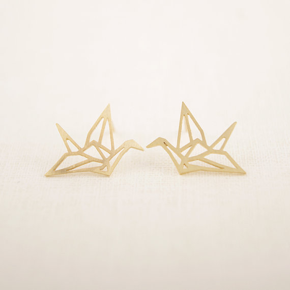 Gold silver Lovely Wild Origami Crane Studs Earrings Cute Graceful pendientes Birds fashionable earrings Ear Studs wholesale(China (Mainland))