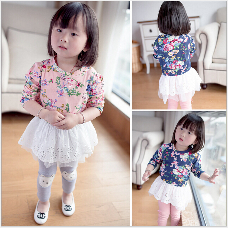 2015 New Spring Autumn Baby Girls Dress Floral Print Clothes Children Cute Long Sleeve Dresses 2 colors - Easy to Buy Happy Shopping Outlet store