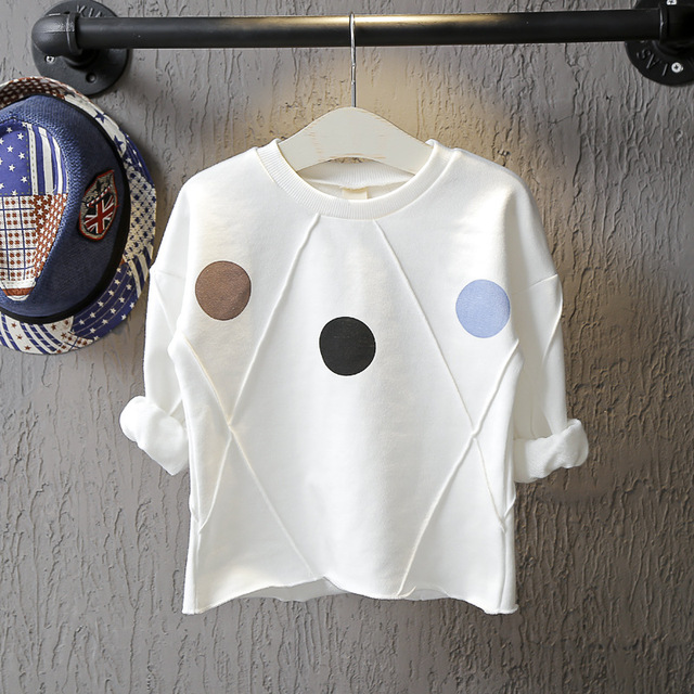 Детская одежда 2016 осень ребенок персонализированные dot девушки футболка