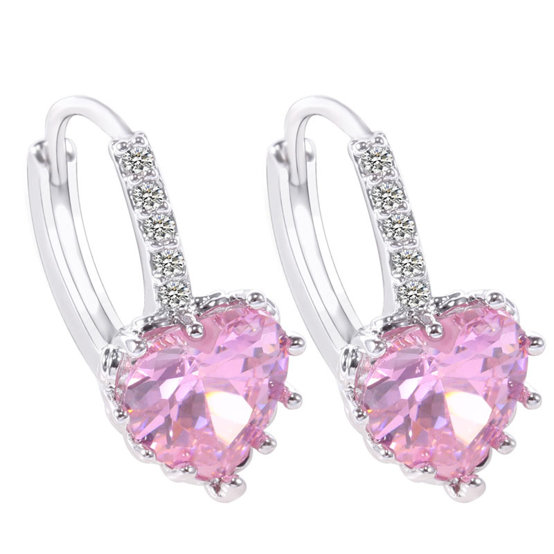 New fashion jewelry, luxury zircon heart-shaped earrings, silver earrings Ms. jewelry wholesale, free shipping(China (Mainland))