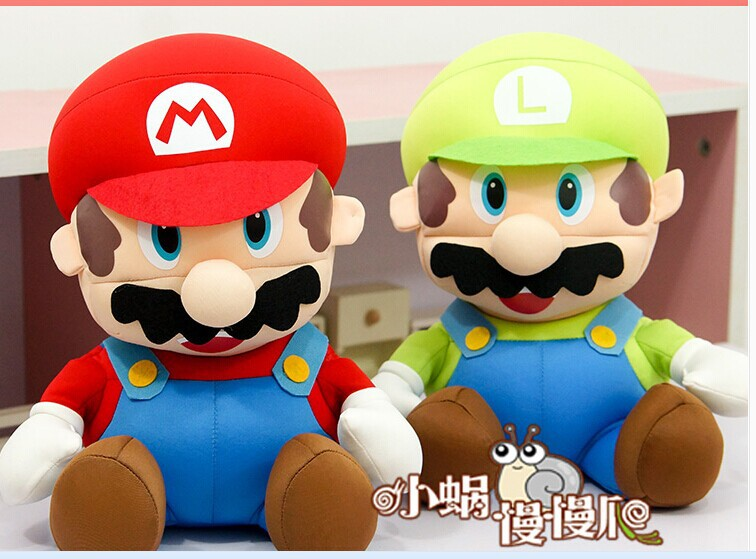a pair of cute Super Mario plush toys red mario and green luigi doll Foam particles dolls birthday gift about 25cm(China (Mainland))