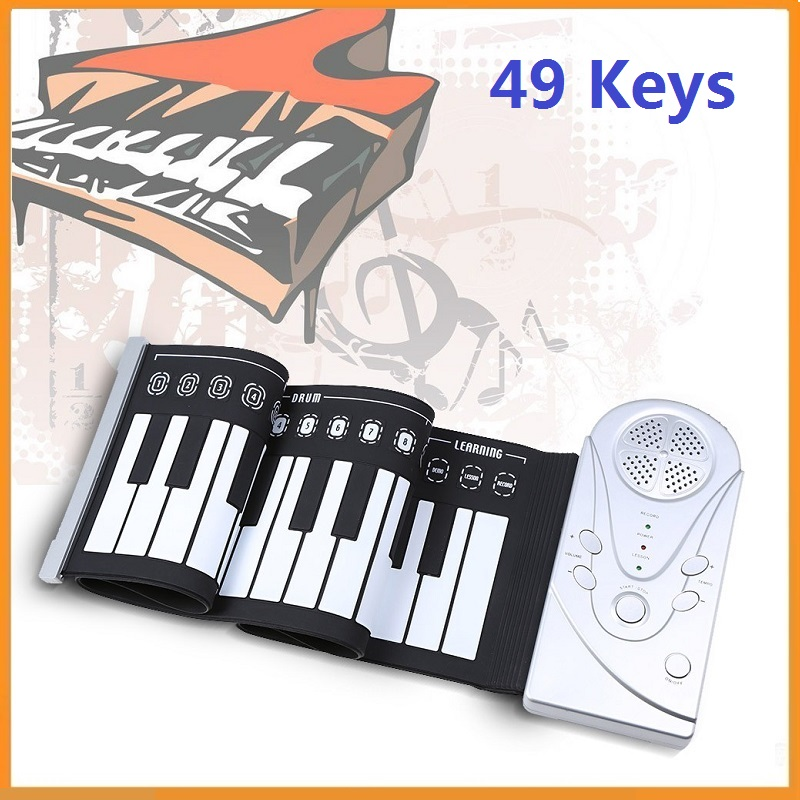 Brand New 49 Keys Portable Flexible Roll Up Piano Electronic Silicone Rubber Soft Keyboard Piano Mini Musical Instrument(China (Mainland))