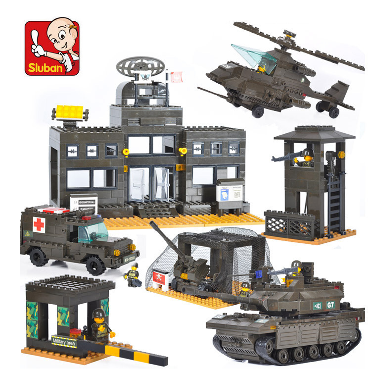Building Block Sets Compatible lego military Army headquarters 3D Construction Brick Educational Hobbies Toys Kids - JBxin store