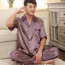 Male Short-sleeve Silk Nightgown Set Plus Size Thin Summer Autumn Sleepwear Set Men Brand Quality Lounge Pajama Set(China (Mainland))