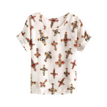 WEIXINBUY 2018 Mulheres Chiffon T-shirt Das Senhoras Soltos Camisas de Manga Curta Listrada Coração Lip Tops Batwing Luva Y9(China)