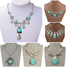 New 2015 Summer Style Tibetan Silver Natural Turquoise Tribal Bib Collar Chunky Flower Statement Necklaces & Pendants(China (Mainland))