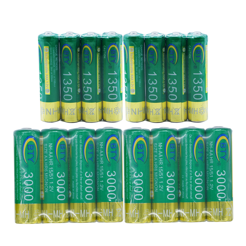 8pcs+8pcs New Really BTY Brand High Perfomance Promotion 1.2V 3000mAh 1350mAh Rechargeable AA AAA Battery(China (Mainland))