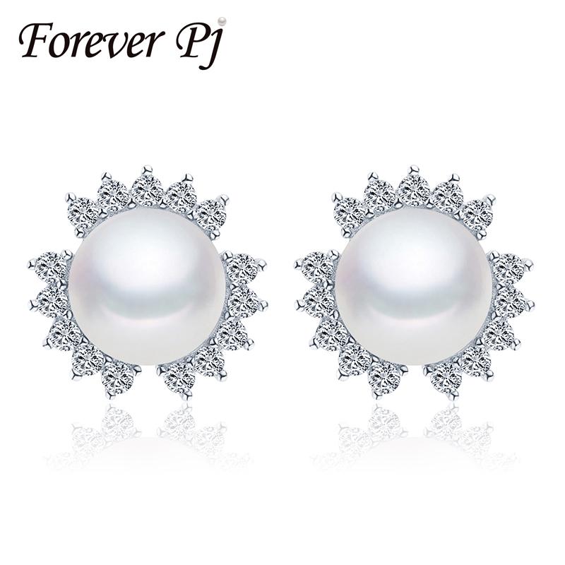 Vintage 2016 Pearl Jewelry genuine freshwater pearl earrings 925 sterling silver stud earrings for women AAAA Pearl Size 9-9.5mm(China (Mainland))