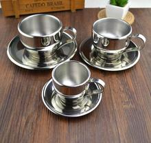 Fashion stainless steel double layer coffee cup set flower tea cup tea cup d'Angleterre espresso bother mug coffee mug
