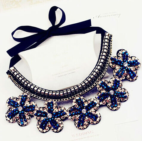 new fashion jewelry accessories punk Metal blue flower crystal false collar necklace Dickie folk women - ABC Mall store