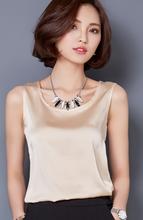 New fashion Women Blouse Sleeveless Summer Tops Blusas 2016 Solid color all-match Silk Vest shirt Plus size Casual Chiffon shirt(China (Mainland))
