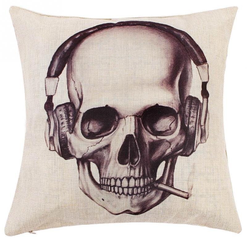 Creative Vintage Skull Pattern Linen Cotton Throw Pillow Case Sofa Car Bed Home Decor Cushion Cover - Kui 's Store store