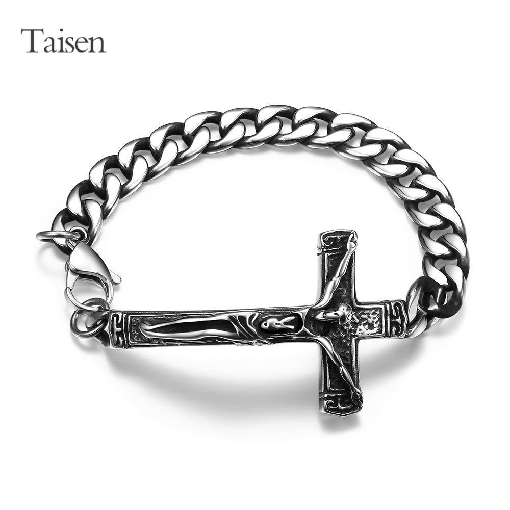 High Quality stainless steel Bracelets Men cross bracelet chain vintage Male Bracelet & bangle jesus shaped jewelry wholesale(China (Mainland))