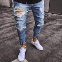 Männer Stilvolle Zerrissene Jeans Hosen Biker Dünne Dünne Gerade Ausgefranste Denim Hose Neue Mode Skinny Jeans Schwarz Blau Mann Jean(China)