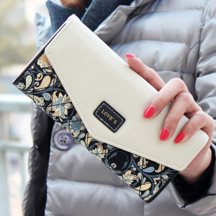 2015 New Fashion Envelope Women Wallet Hit Color 3Fold Flowers Printing 5Colors PU Leather Wallet Long Ladies Clutch Coin Purse(China (Mainland))