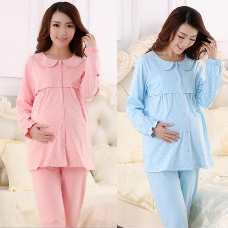 New Women Maternity Clothing Set for Pregnant Women Loose Clothing Maternity Soft Cotton Sleep wear Spring autumn Clothes Q2