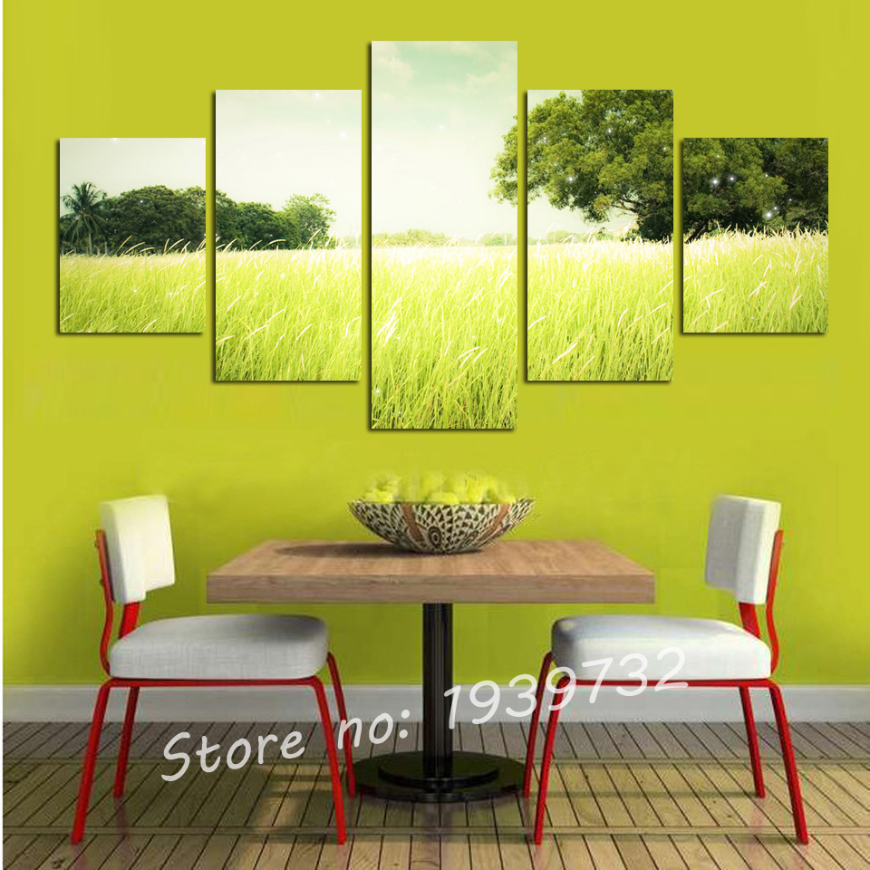Landscape canvas painting for living room 5 panel tree for Living room 12x16