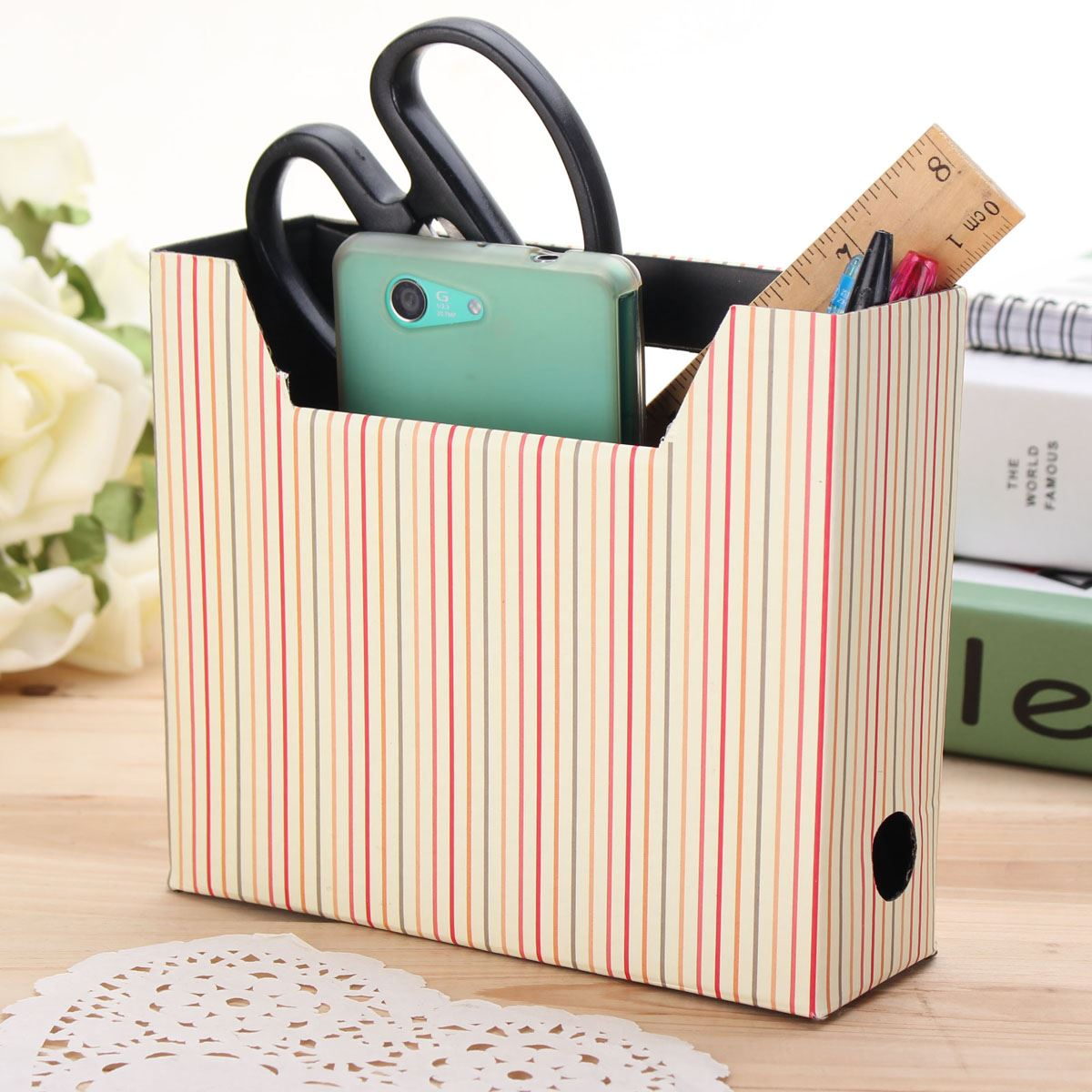 Paper Board Storage Box Desk Decor Organizer DIY Hot Makeup Cosmetic Stationery Collection Box Cute Simple Modern Style(China (Mainland))