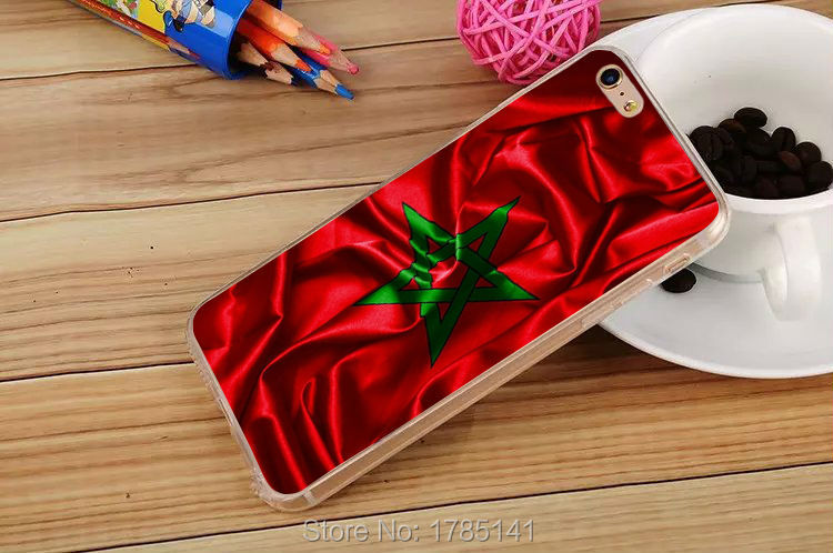 1pcs Kingdom of Morocco Realistic Flag Design hard Transparent Clear Skin Case for iphone6 (4.7inch) and iphone6 plus(5.5inch)