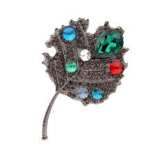 Cindy Xiang Berlian Imitasi Berlian Imitasi Daun Bros untuk Wanita Fashion Sweter Mantel Bros Pin Besar Elegan Aksesoris Hadiah Yang Bagus(China)