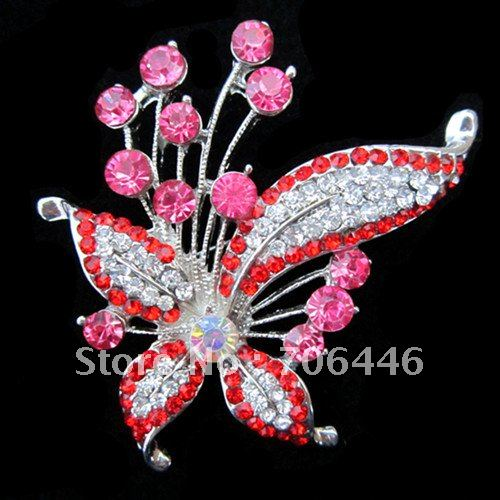 Vintage Style Rhodium Silver Tone Multicolored Rhinestone Crystal Large Butterfly Brooch Party Gift<br><br>Aliexpress