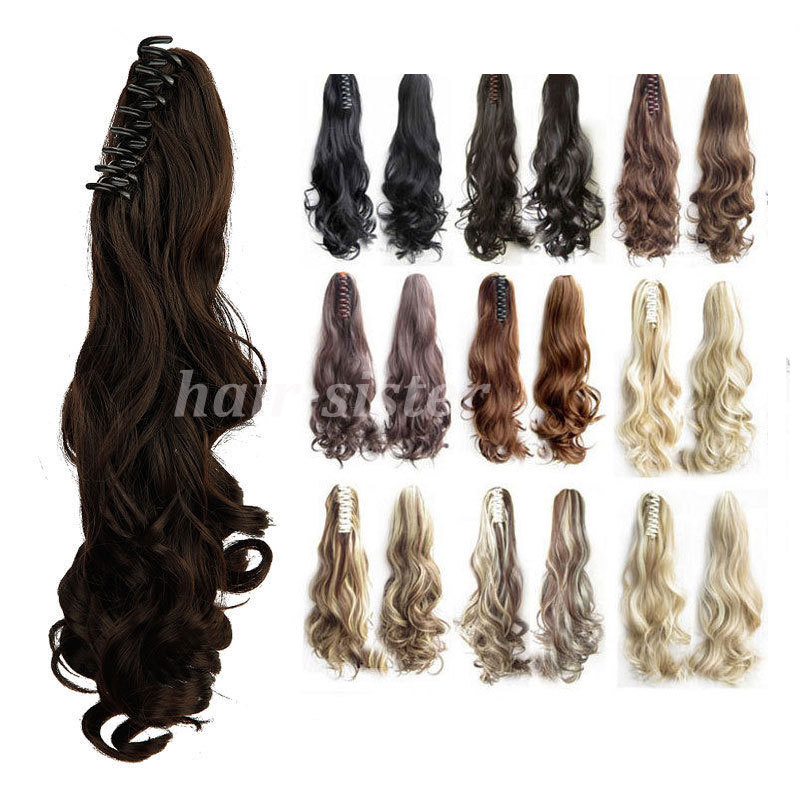 "US SHIPPING Long 18"" Big Wavy Claw Ponytail Clip in on Pony tail Hair Extensions piece Black Brown Blonde Fashion New HairStyle(China (Mainland))"