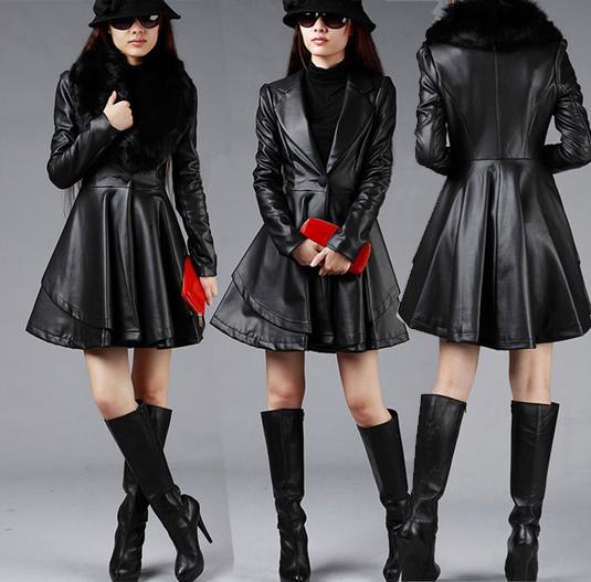 women leather jackets 2014 winter plus size slim Faux fur long trench windbreaker clothing outerwear 4xl 5xl 6xl 7xl - Icesnows store