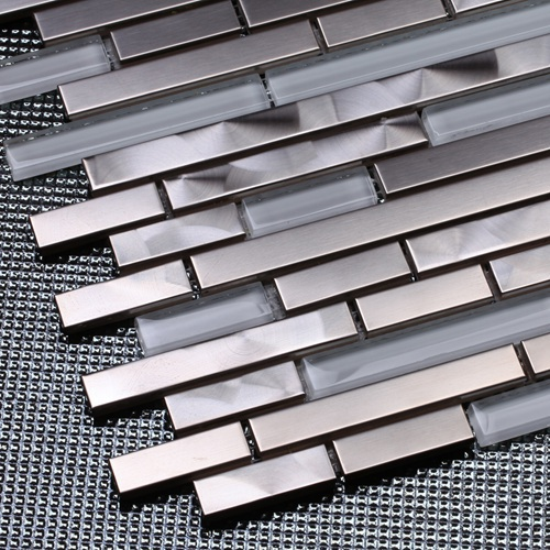 Silver Stainless Steel Mixed White Glass Strip Mosaic Tiles For Kitchen Backsplash Bathroom Wall