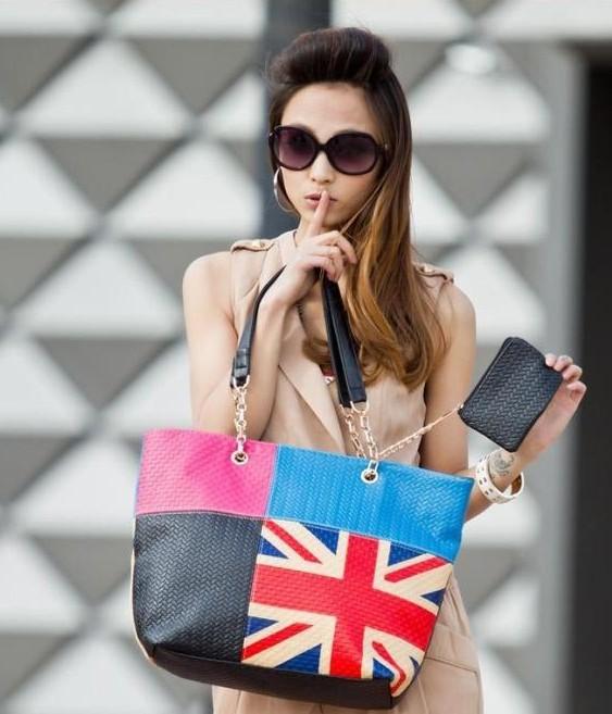 Women Fashion British Style Dating Handbag Ladies Famous America Flag Handbag Free Shipping PU(Faux) Leather UK Casual Tote(China (Mainland))