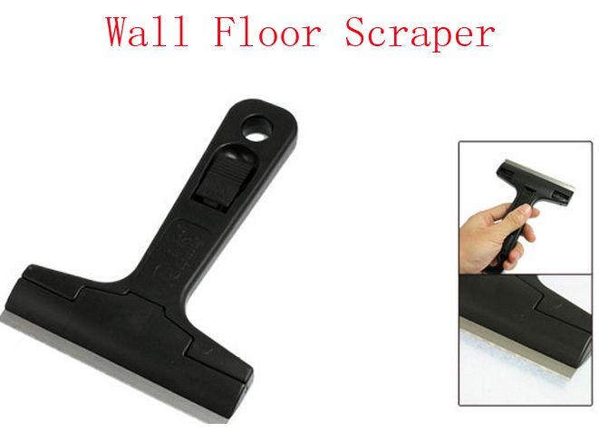 Stainless Steel Blade Wall Floor Window Glass Cleaning Scraper Black 3 Pcs(China (Mainland))