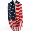 Hot Sale Fashion Girls Women Vintage American Flag Infinity Ring Scarves Snood USA Scarf Thin voile