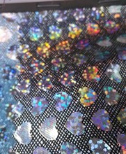 synthetic PU heart shape glitter laser decorate leather material(China (Mainland))