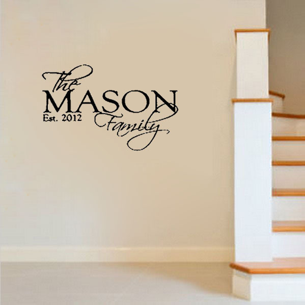 personalized sticker custom family name date wall decals